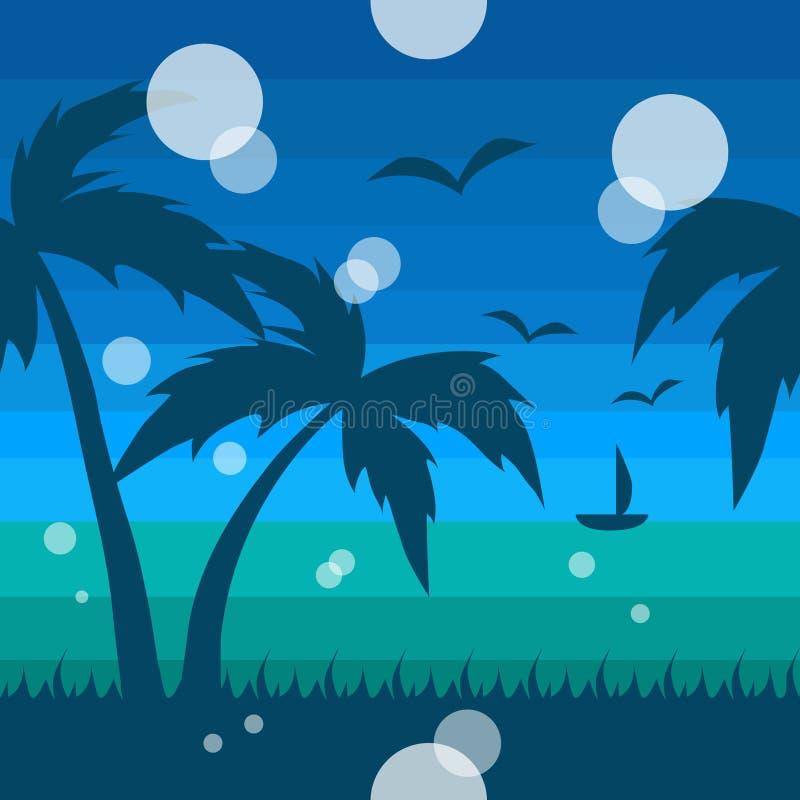 与海和棕榈树的无缝的热带样式 向量例证