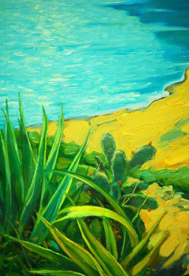 与海和银行的夏天风景,绘由油, illustrat 向量例证