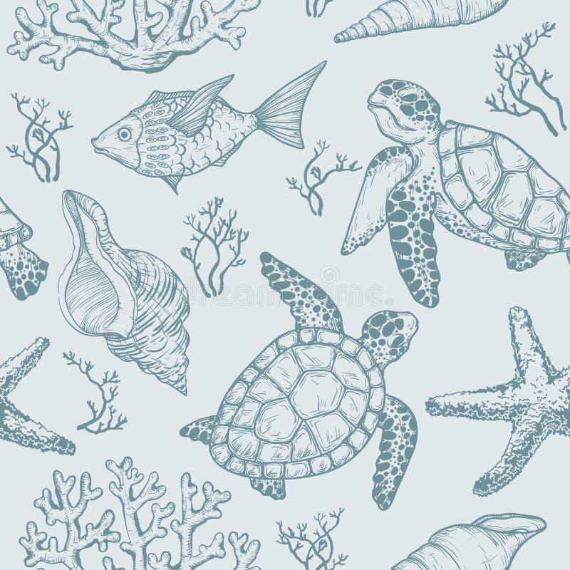与海壳、鱼、珊瑚和乌龟剪影的无缝的样式  拉长的现有量向量 向量例证