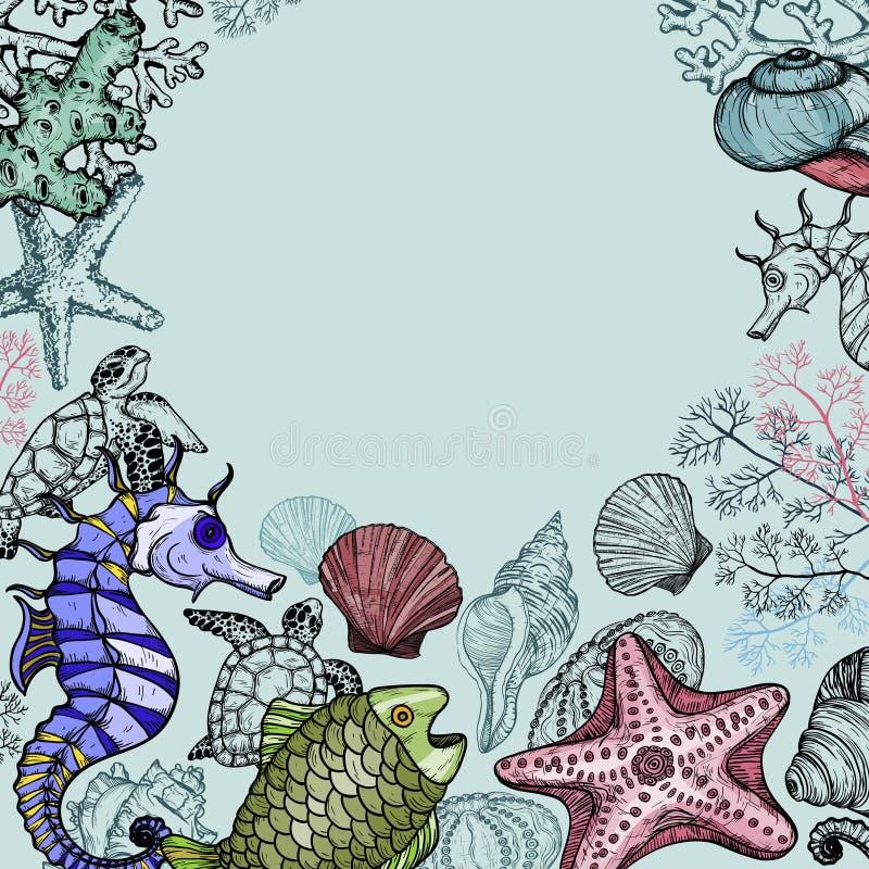 与海壳、鱼、珊瑚和乌龟的背景 皇族释放例证