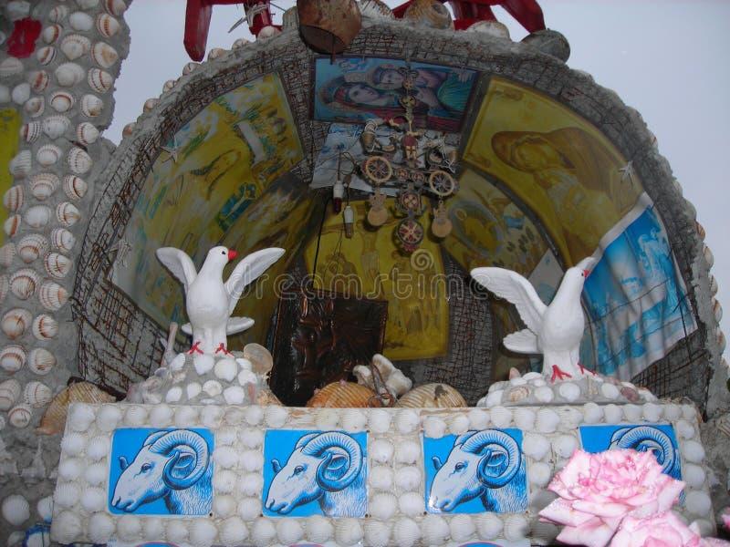 与海壳和海鸥的正统壁画 免版税库存图片