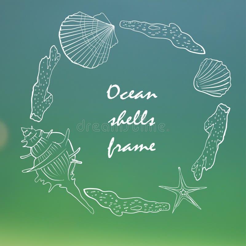 与海壳的卡片在海背景 库存例证