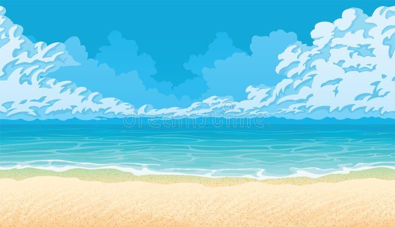 与海岸、海洋和云彩的水平的无缝的背景 沙滩 向量例证