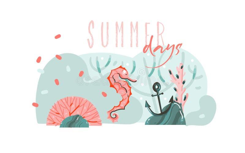 与海底,秀丽海象的手拉的传染媒介摘要动画片夏时图表例证艺术模板背景和 向量例证