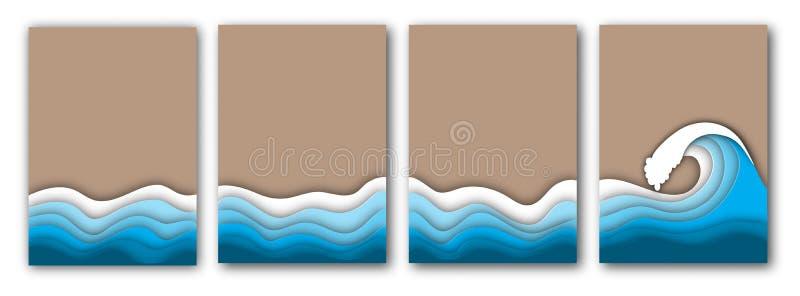 与海或海浪和沙子飞行物集合的纸被切开的夏天海滩 皇族释放例证