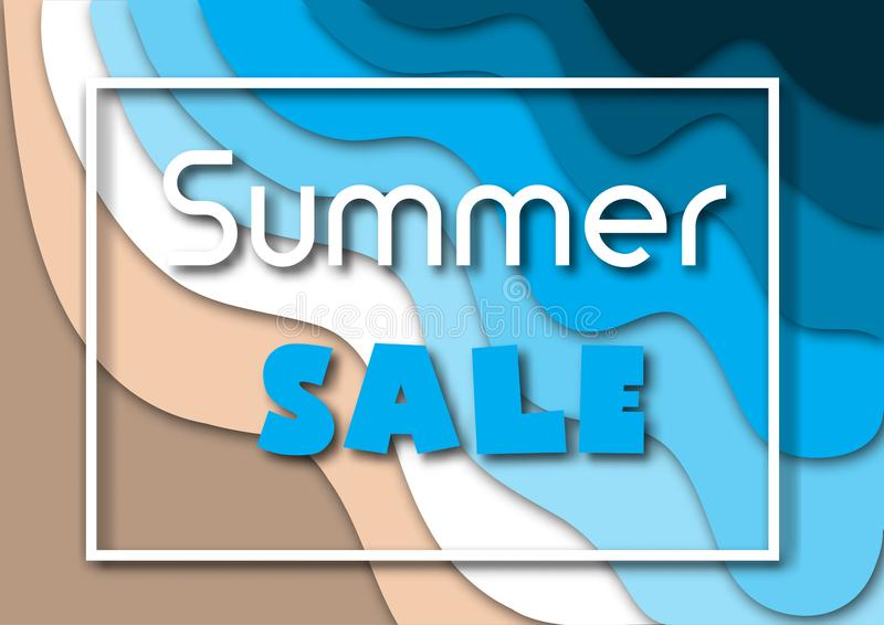 与海或海浪的纸被切开的夏天销售横幅和热带海滩沙子、白色框架和文本 皇族释放例证