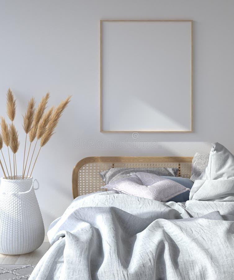 与海报大模型的卧室内部,斯堪的纳维亚样式 免版税图库摄影