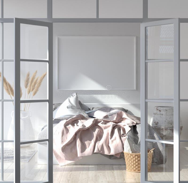 与海报大模型的卧室内部,斯堪的纳维亚样式 图库摄影