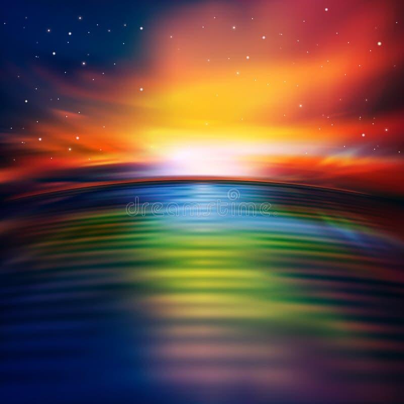 与海日出的抽象自然背景 向量例证