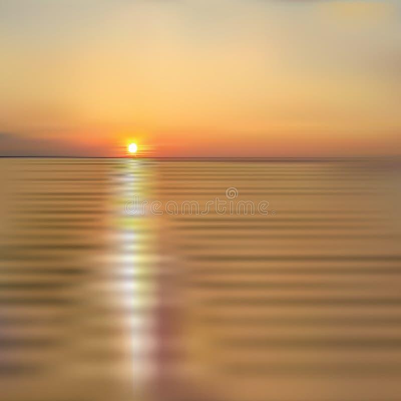 与海日落的抽象春天背景 向量例证