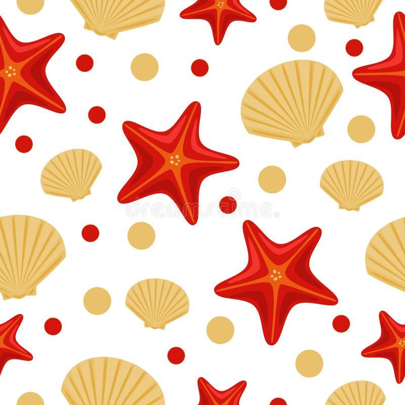 与海星和壳的无缝的水下的海样式 可以使用抽象重复背景,五颜六色的传染媒介例证  皇族释放例证