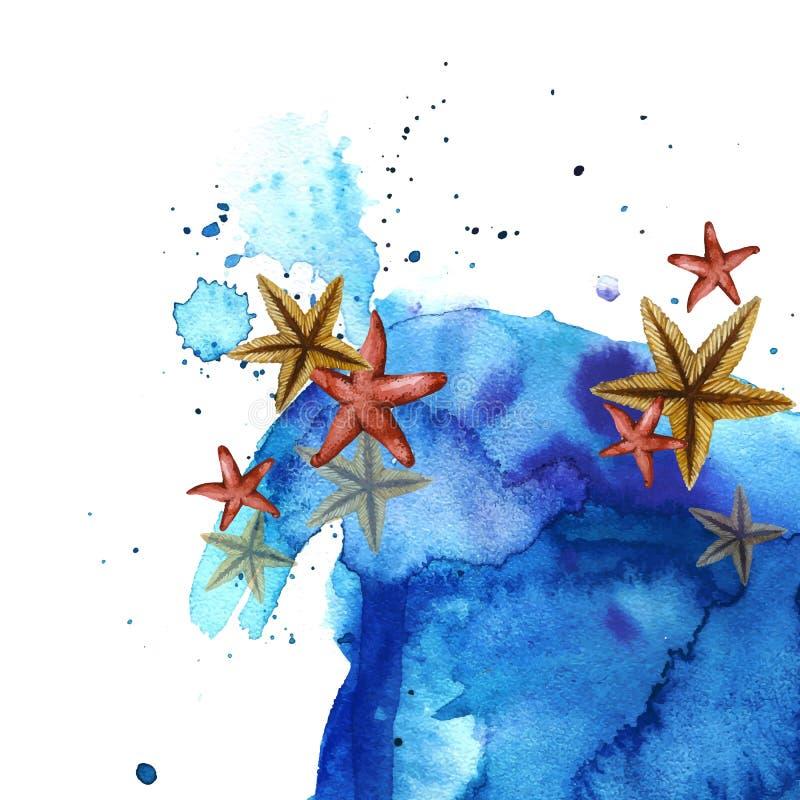 与海星和蓝色波浪的被绘的画的水彩背景 皇族释放例证