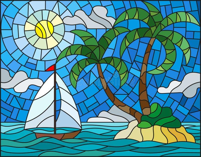 与海景的彩色玻璃例证,有棕榈树的热带海岛和在海洋、太阳和分类背景的一条风船  向量例证