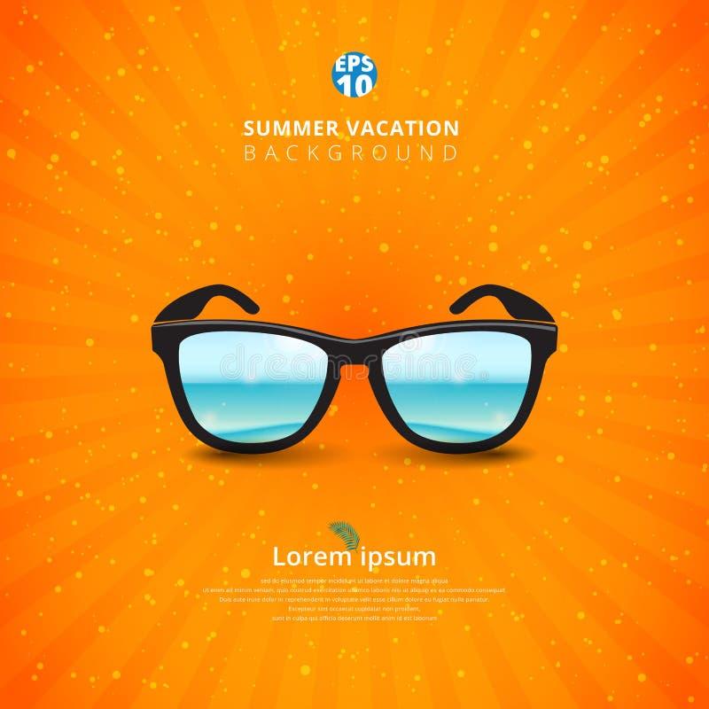 与海景的Sunglass 夏天背景 向量例证