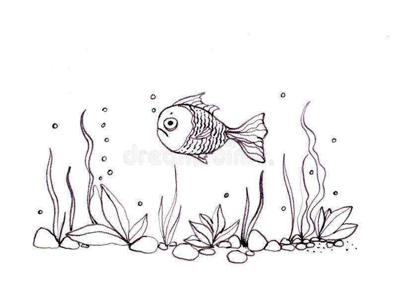 与海植物和游泳的鱼的水下的风景 墨汁手拉的线例证 向量例证