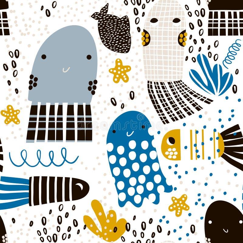 与海洋动物松包,鱼的无缝的样式 织品的,纺织品海里的幼稚纹理 向量背景 库存例证