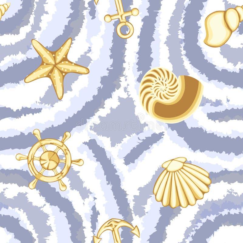 与海洋标志的传染媒介领带染料无缝的样式 皇族释放例证