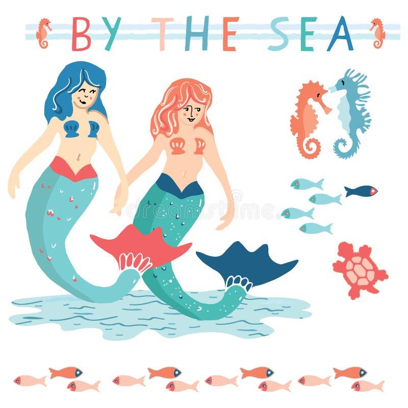 与海洋生活动画片传染媒介例证主题集合的逗人喜爱的夏天美人鱼 手拉的被隔绝的海洋神话元素clipart 库存例证