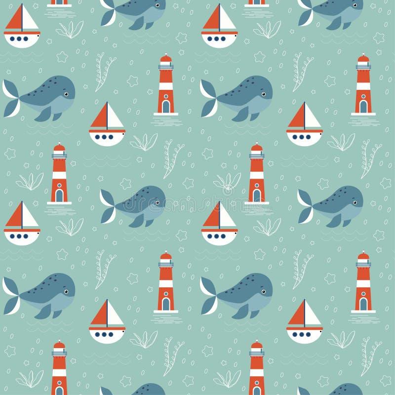 与海洋题材的无缝的样式 在绿色背景、鲸鱼、灯塔和小船上 E 向量例证