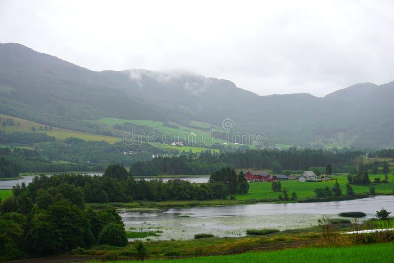 与海湾、高山和五颜六色的房子从前的,挪威的挪威村庄风景 免版税库存图片