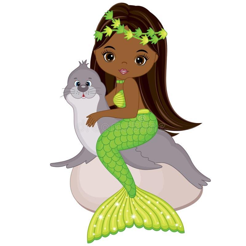 与海狗的传染媒介逗人喜爱的一点美人鱼游泳 传染媒介非裔美国人美人鱼 皇族释放例证