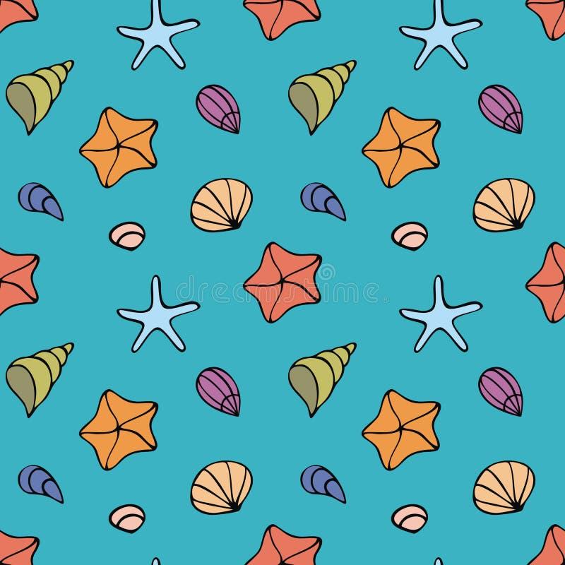 与海生物的五颜六色的无缝的样式在乱画样式 皇族释放例证