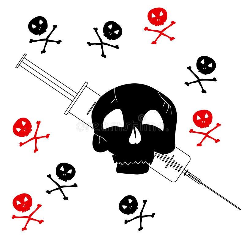 与海盗旗的图象的样式与注射器的 从药物的防备措施 也corel凹道例证向量 库存例证