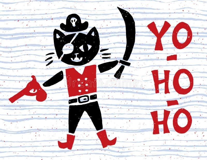 与海盗猫的葡萄酒船舶海报 免版税库存照片