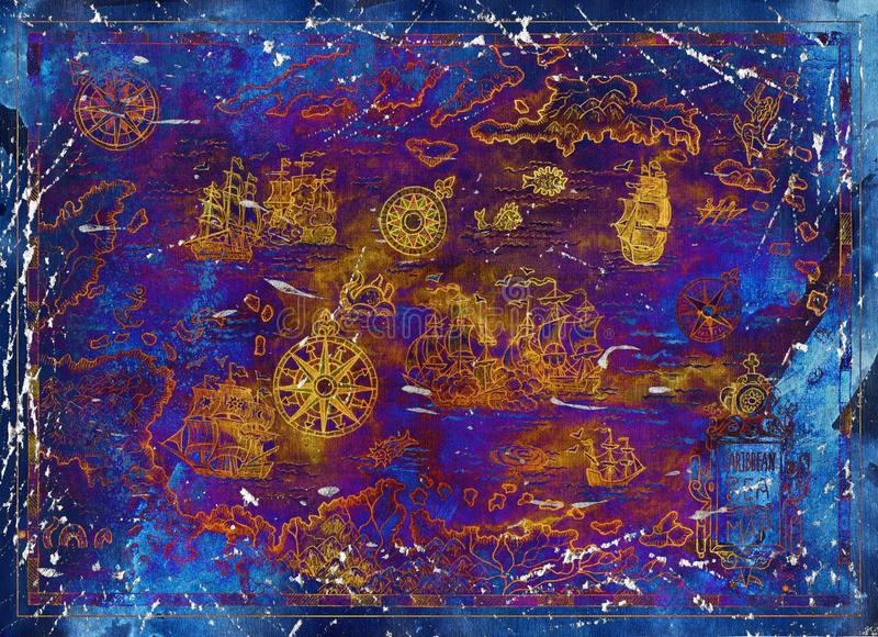 与海盗船和指南针的老加勒比海地图在蓝色纹理背景 库存例证