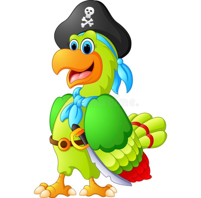 与海盗costum的滑稽的鹦鹉 库存例证