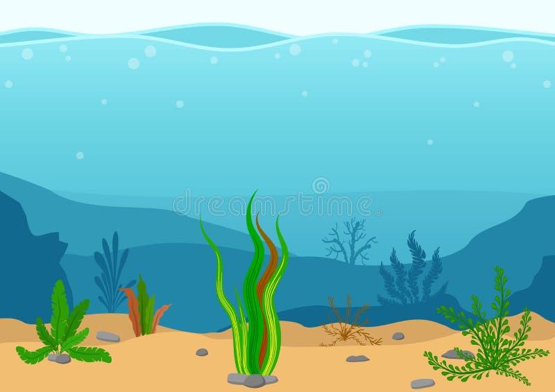 与海草的水下的风景 与礁石的海景 与海草的海洋海底剪影 在舱内甲板的自然场面 向量例证