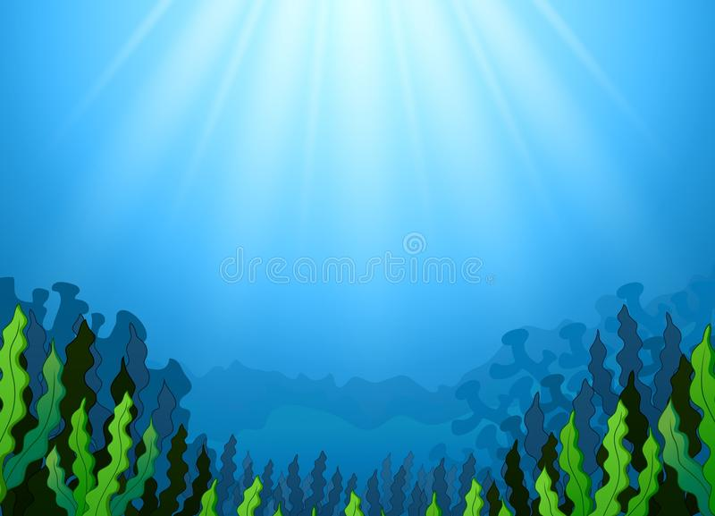 与海草的水下的场面 库存例证