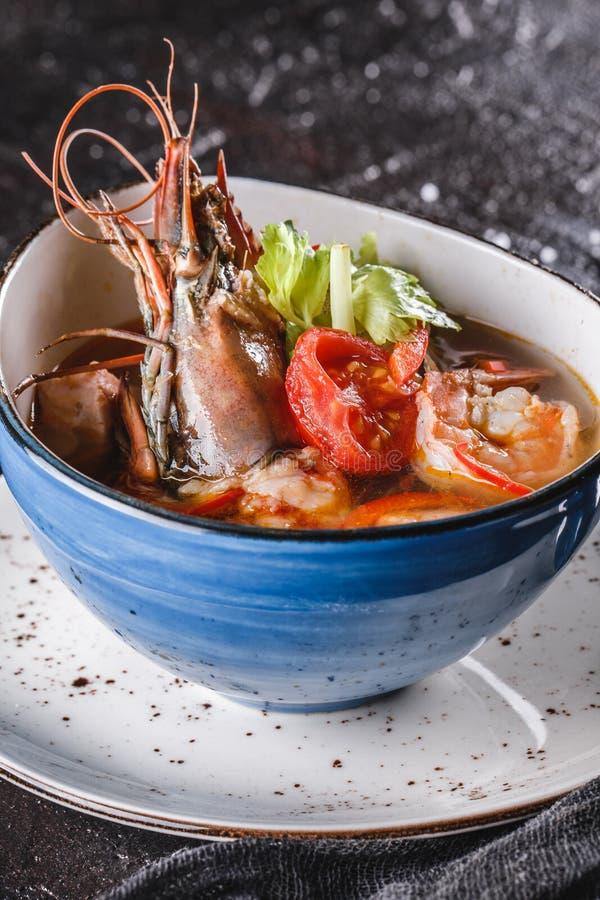 与海螯虾、淡菜、乌贼、内圆角三文鱼、虾和芹菜的海鲜汤在黑暗的背景的碗 E 库存照片