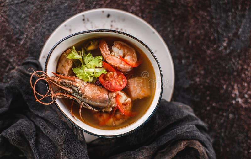 与海螯虾、淡菜、乌贼、内圆角三文鱼、虾和芹菜的海鲜汤在黑暗的背景的碗 E 免版税库存照片