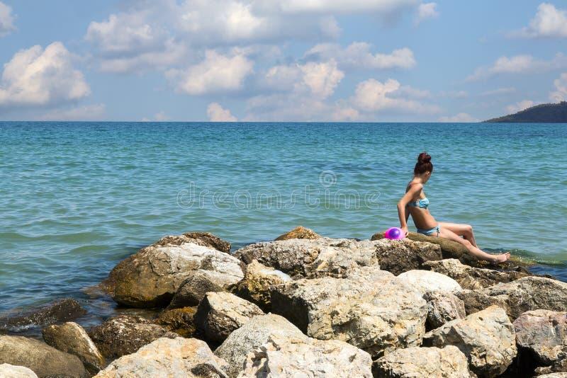 与海警报器的风景 图库摄影