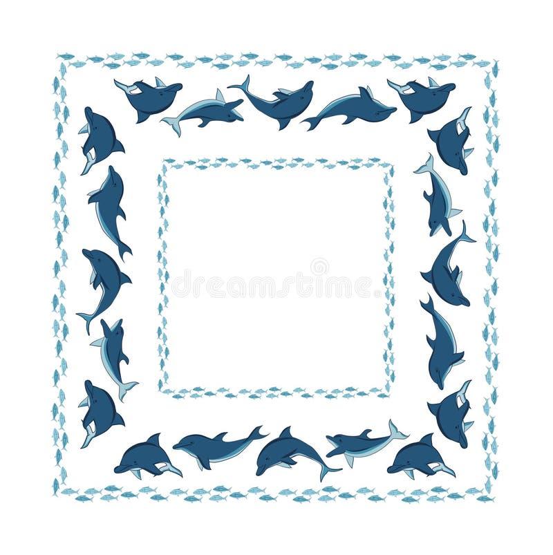与海豚和鱼的装饰品的框架 向量例证