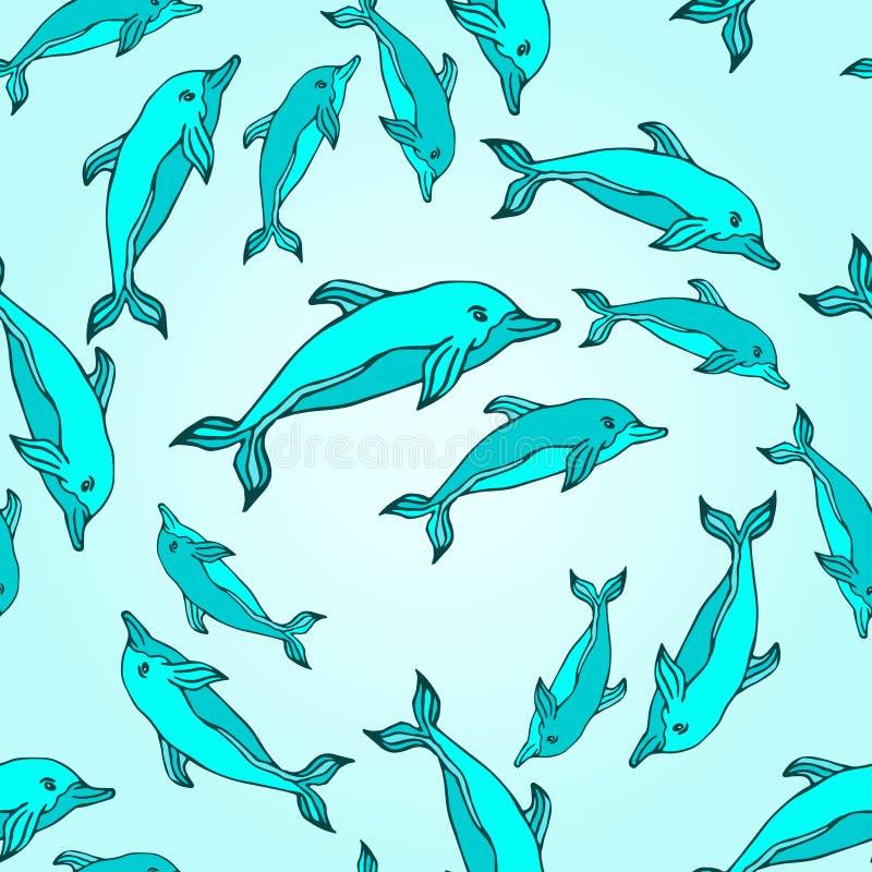 与海豚的无缝的传染媒介背景 礼物组装设计的,套,样式织品,墙纸,网传染媒介例证坐 向量例证