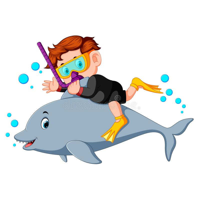 与海豚的男孩潜水 库存例证