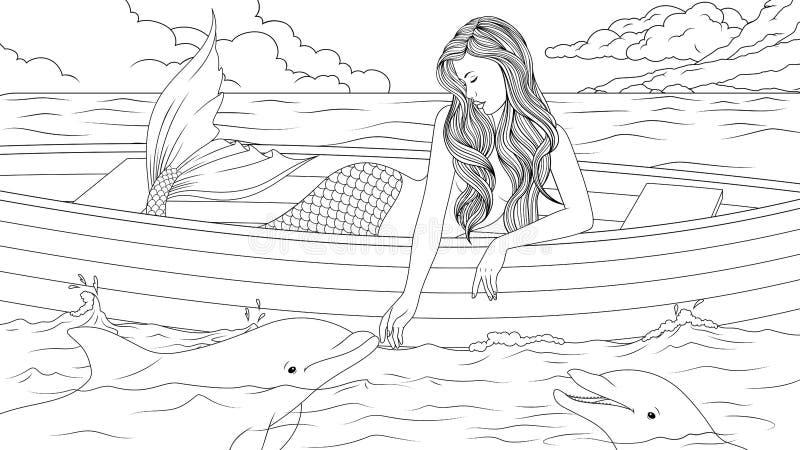 与海豚的美丽的美人鱼 向量例证