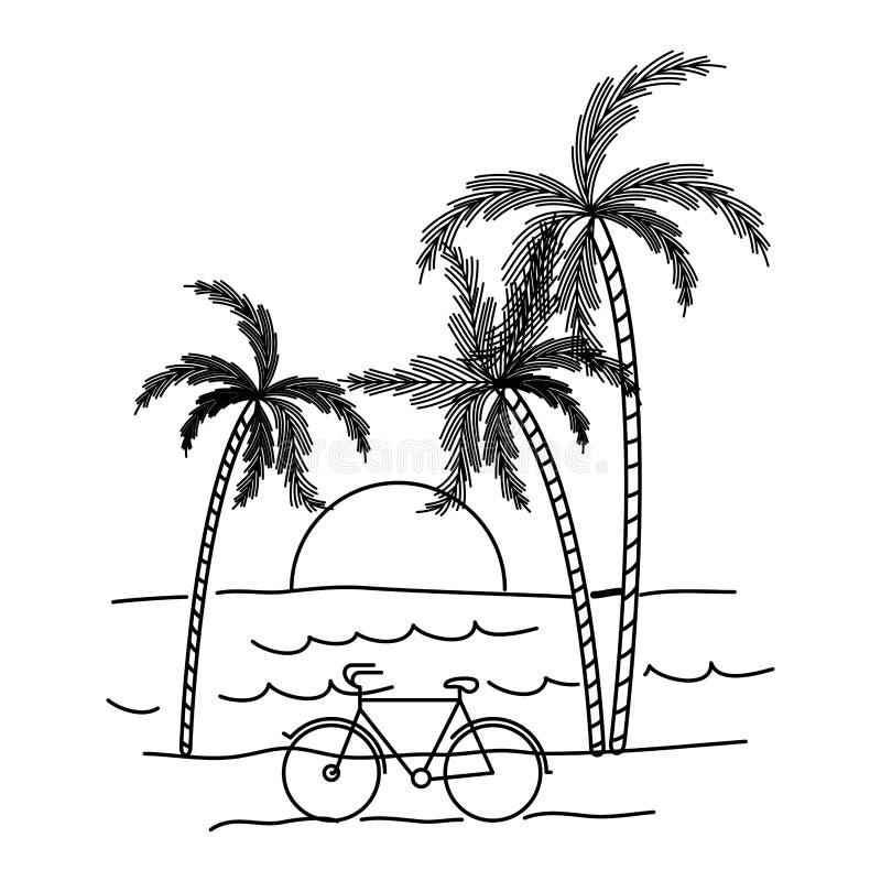 与海风景和日落的黑剪影在棕榈树之间 向量例证