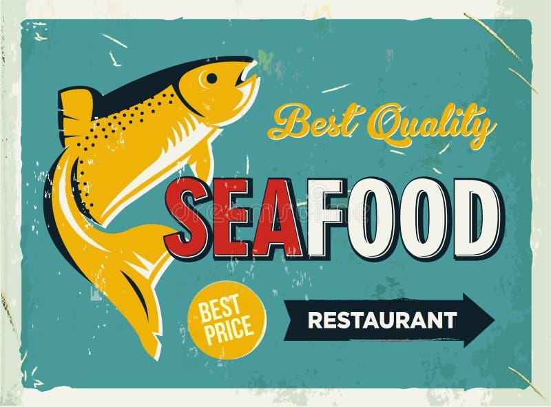 与海鲜商标的难看的东西减速火箭的金属标志 加利福尼亚海报火轮葡萄酒 老鱼餐馆 食物和饮料背景题材 向量例证