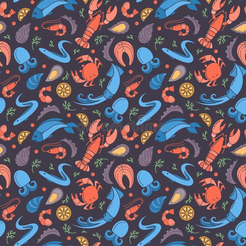 与海鲜平的五颜六色的元素的无缝的样式 皇族释放例证