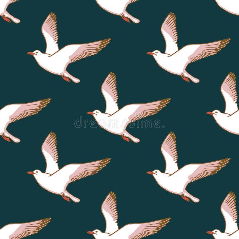 与海鸥的传染媒介无缝的样式 向量例证