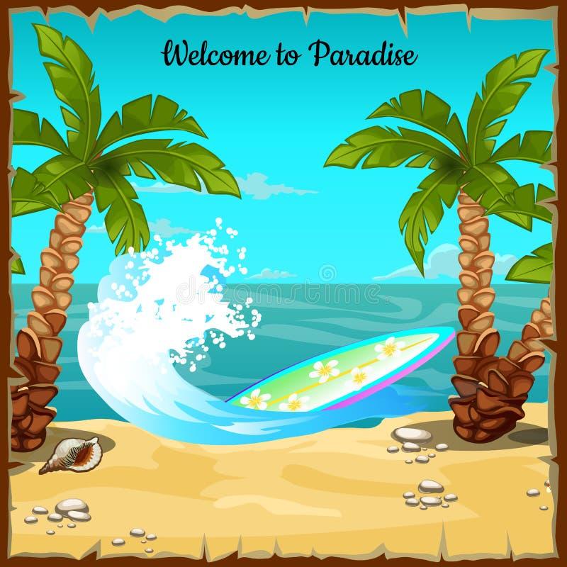 与海滩、海浪和冲浪板的明信片 库存例证