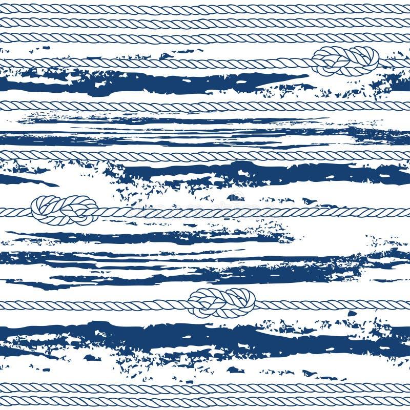 与海洋绳索、结和摘要的无缝的样式挥动 向量例证