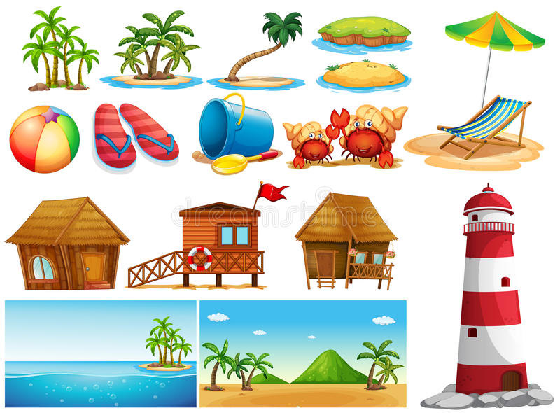 与海洋和大厦的夏天题材 向量例证