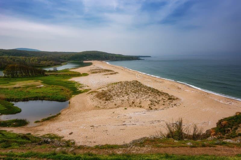 与海滩的海景在Veleka河的嘴, Sinemorets村庄,布尔加斯地区,保加利亚 库存照片