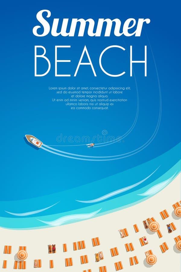 与海滩睡椅和人的晴朗的夏天海滩背景 向量例证, EPS10 库存例证