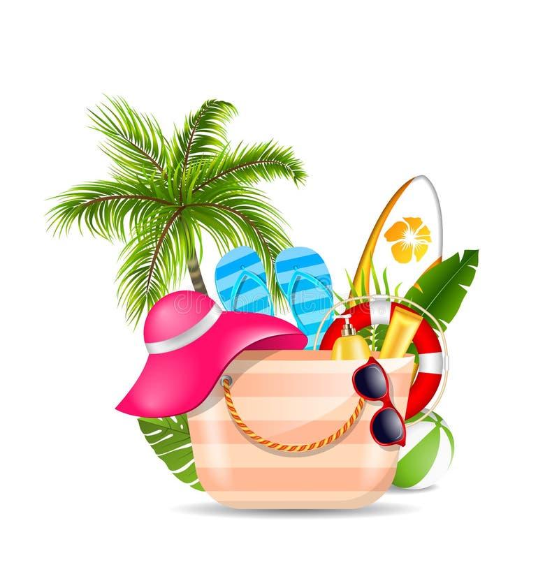 与海滩辅助部件的女性袋子 套旅行远航的设计元素 向量例证
