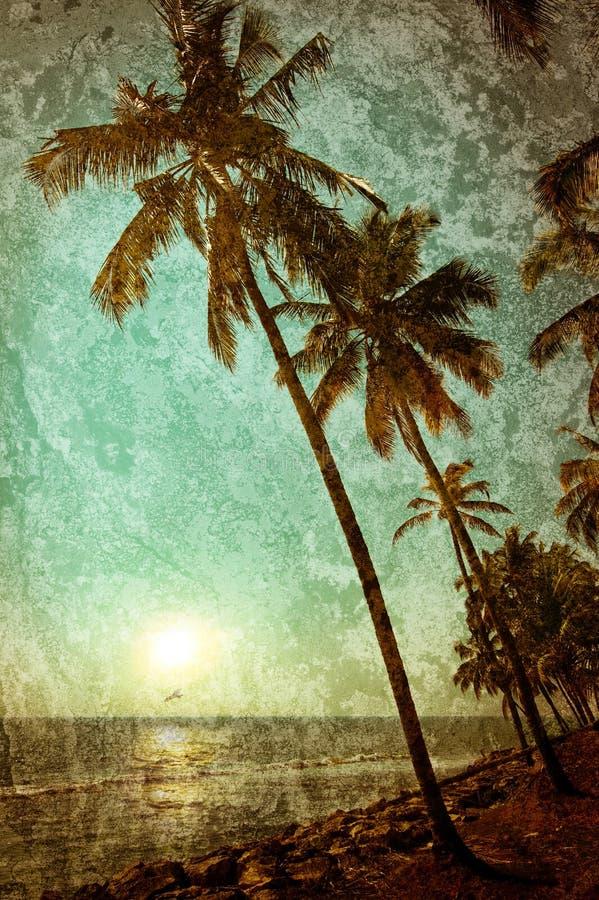 与海洋风景的难看的东西纹理在葡萄酒样式 美丽 免版税图库摄影